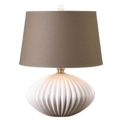 Uttermost Bariano Table Lamp in White with Linen Shade