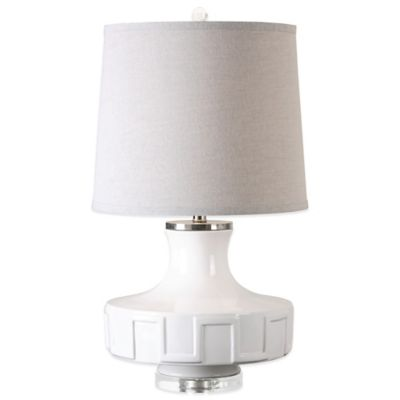 Uttermost Calvenzano Table Lamp in White with Linen Shade