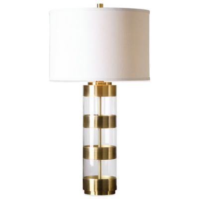 Uttermost Angora Table Lamp in Brushed Brass with Linen Shade