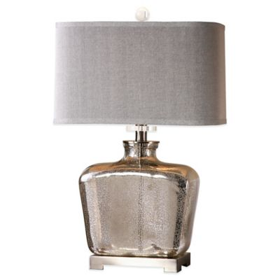 Uttermost Molinara Table Lamp in Brushed Nickel with Linen Shade