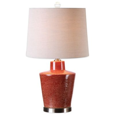 Uttermost Cornell Table Lamp in Red with Linen Shade