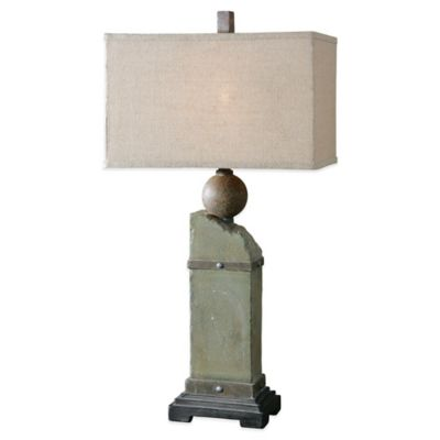 Uttermost Verdellino Table Lamp in Grey with Linen Shade