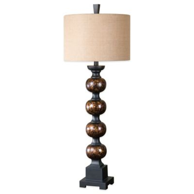 Uttermost Massadona Stacked Spheres Buffet Lamp in Brown with Burlap Linen Shade