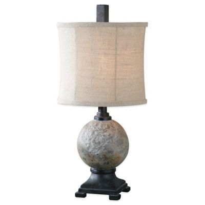 Uttermost Calvene Concrete Ball Table Lamp in Grey with Linen Shade