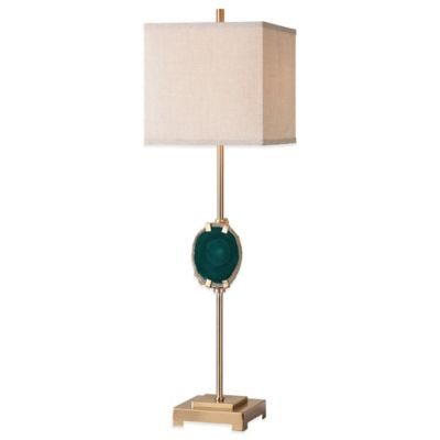 Uttermost Achates Emerald Agate Buffet Lamp in Emerald with Linen Shade