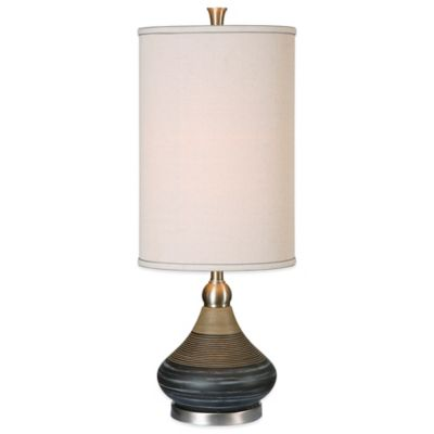 Uttermost Warley Table Lamp in Black with Linen Shade