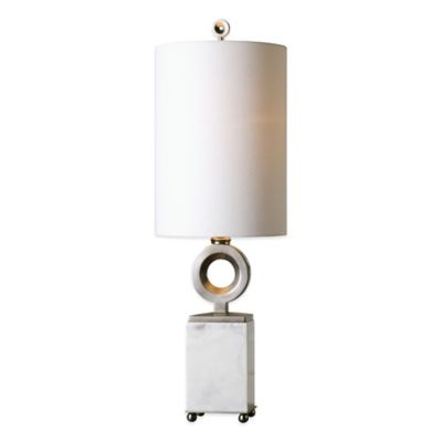 Uttermost Palos Buffet Lamp in Alabaster White with Linen Shade