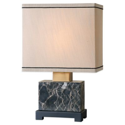 Uttermost Anadell Polished Marble Table Lamp in Black with Linen Shade
