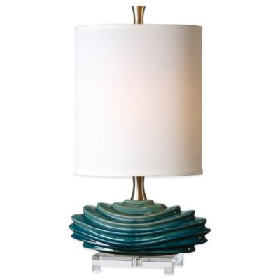 Uttermost Talucah Table Lamp in Teal Blue with Linen Shade