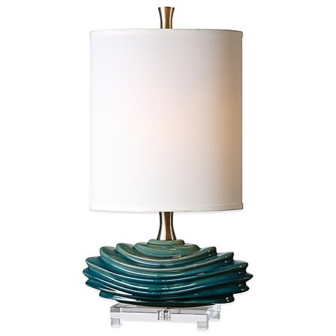 buy uttermost talucah table lamp in teal blue with linen. Black Bedroom Furniture Sets. Home Design Ideas