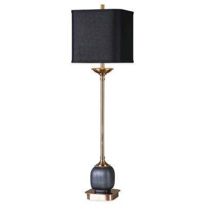 Uttermost Thurston Buffet Lamp in Brushed Brass with Linen Shade