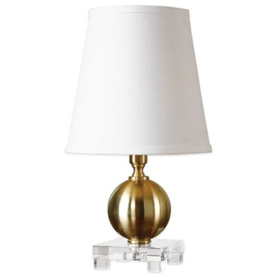 Uttermost Laton Mini Table Lamp in Brushed Brass with Linen Shade