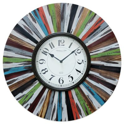 Painted Rustic Wood Wall Clock