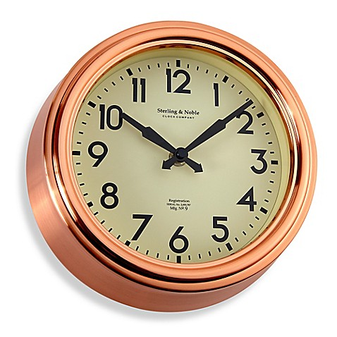 buy small copper kitchen wall clock from bed bath beyond