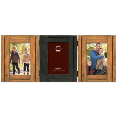Prinz Woodlands 3-Photo Hinged 4-Inch x 6-Inch Picture Frame in Natural/Black