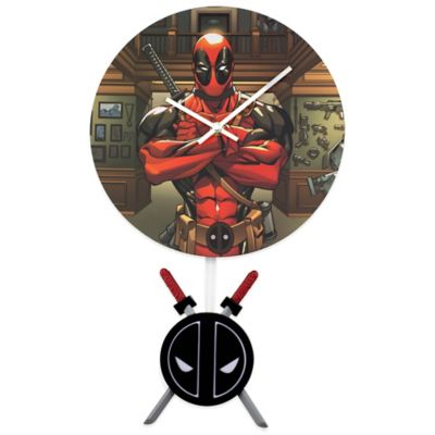 Deadpool 3-D Pendulum Wall Clock in Black/Red