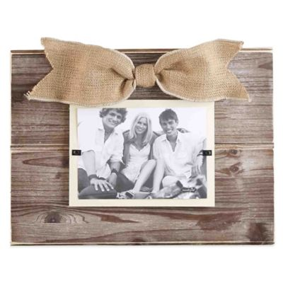 Mud Pie® Pine 4-Inch x 6-Inch Beveled Picture Frame with Burlap Bow