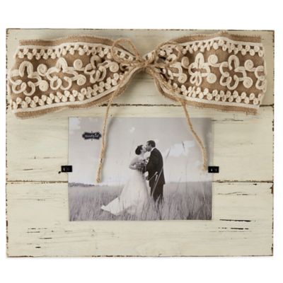 Mud Pie® Linen Hanger 4-Inch x 6-Inch Picture Frame with Bow
