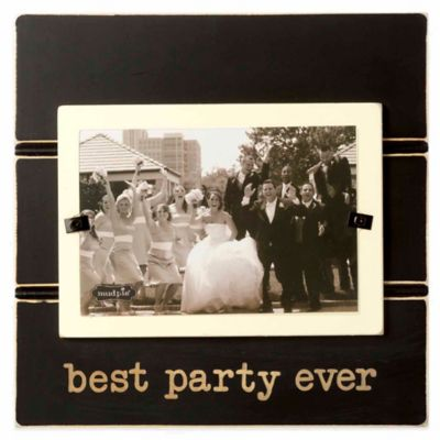 "Mud Pie ""best party ever"" 4-Inch x 6-Inch Picture Frame in Black"