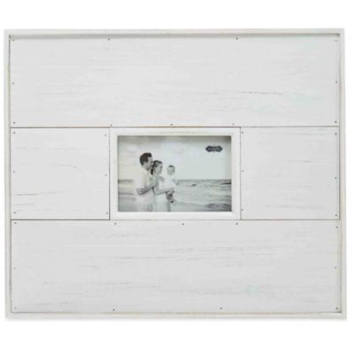 Mud Pie® Planked Distressed 4-Inch x 6-Inch Picture Frame in White