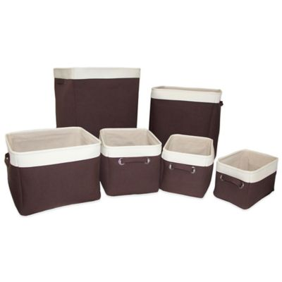 Closet Complete Canvas 6-Piece Hamper and Basket Storage Set in Espresso