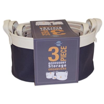 Closet Complete Canvas 3-Piece Basket Storage Set in Grey/Ivory