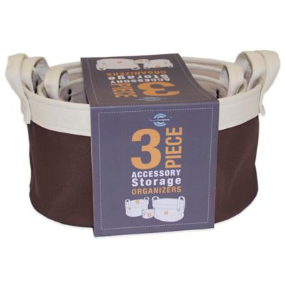 Closet Complete Canvas 3-Piece Basket Storage Set in Espresso