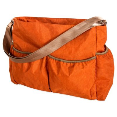 Trend Lab Crinkle Tote Diaper Bag in Orange