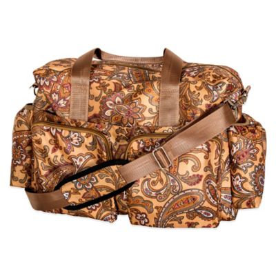 Trend Lab Deluxe Paisley Duffle Diaper Bag in Brown