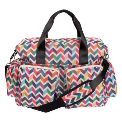 Trend Lab Deluxe Chevron Duffle Diaper Bag in Multicolor
