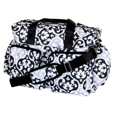 Trend Lab Deluxe Scroll Duffle Diaper Bag in Black/White