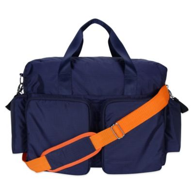 Trend Lab Deluxe Duffle Diaper Bag in Navy/Orange