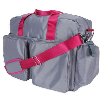 Trend Lab Deluxe Duffle Diaper Bag in Grey/Magenta
