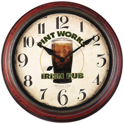 "20-Inch ""Pint Works Irish Pub"" Wall Clock"