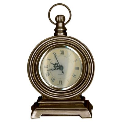 Prinz Mackenzie Pocket Watch Table Clock in Antique Brass