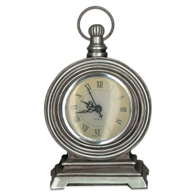 Prinz Mackenzie Pocket Watch Table Clock in Antique Silver