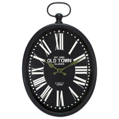 Oval Wall Clock in Black