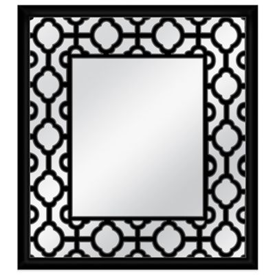 Open Patterned 20-Inch x 22-Inch Wall Mirror in Black