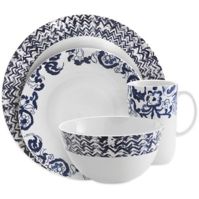 Vera Wang Wedgwood® Simplicity Ombre Chevron 4-Piece Place Setting in Indigo