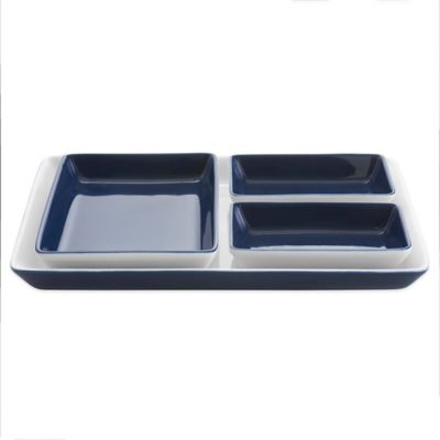 Vera Wang Wedgwood® Simplicity Ombre Tray with 3 Plates in Indigo