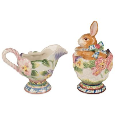 Fitz and Floyd Halcyon Bunny Sugar and Creamer (Set of 2)