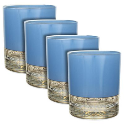 Patina Vie Aqua Moon Rocks Glasses (Set of 4)