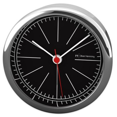 Oliver Hemming Desire Sleek Minimalist Alarm Clock in Chrome