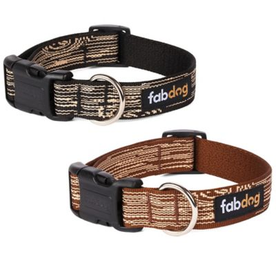 Fab Dog Faux Bois Large Collar in Brown