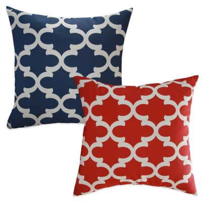 Eli Square Throw Pillow in Blue (Set of 2)