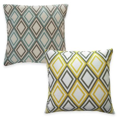 Demi Square Throw Pillow in Yellow (Set of 2)