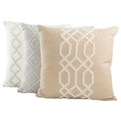 Iman Home Graphic Chic Square Throw Pillow in Taupe