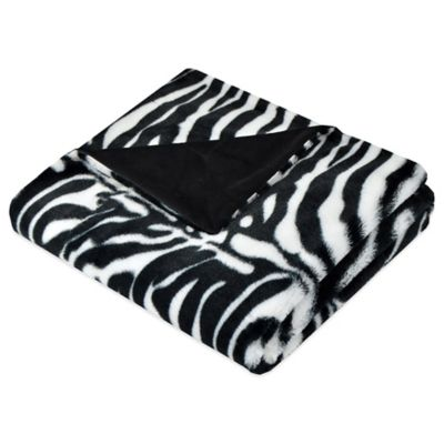 Black White Faux-Fur Throw