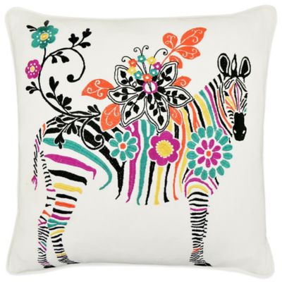 Vue Zebra Embroidered Square Throw Pillow