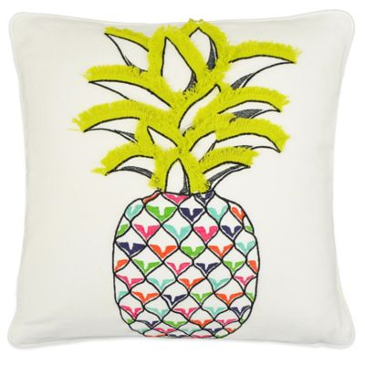 Vue Pineapple Embroidered Square Throw Pillow